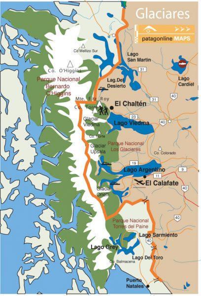 Mapa Glaciar Perito Moreno