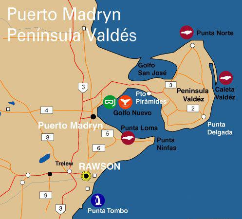 Karte Halbinsel Valdés