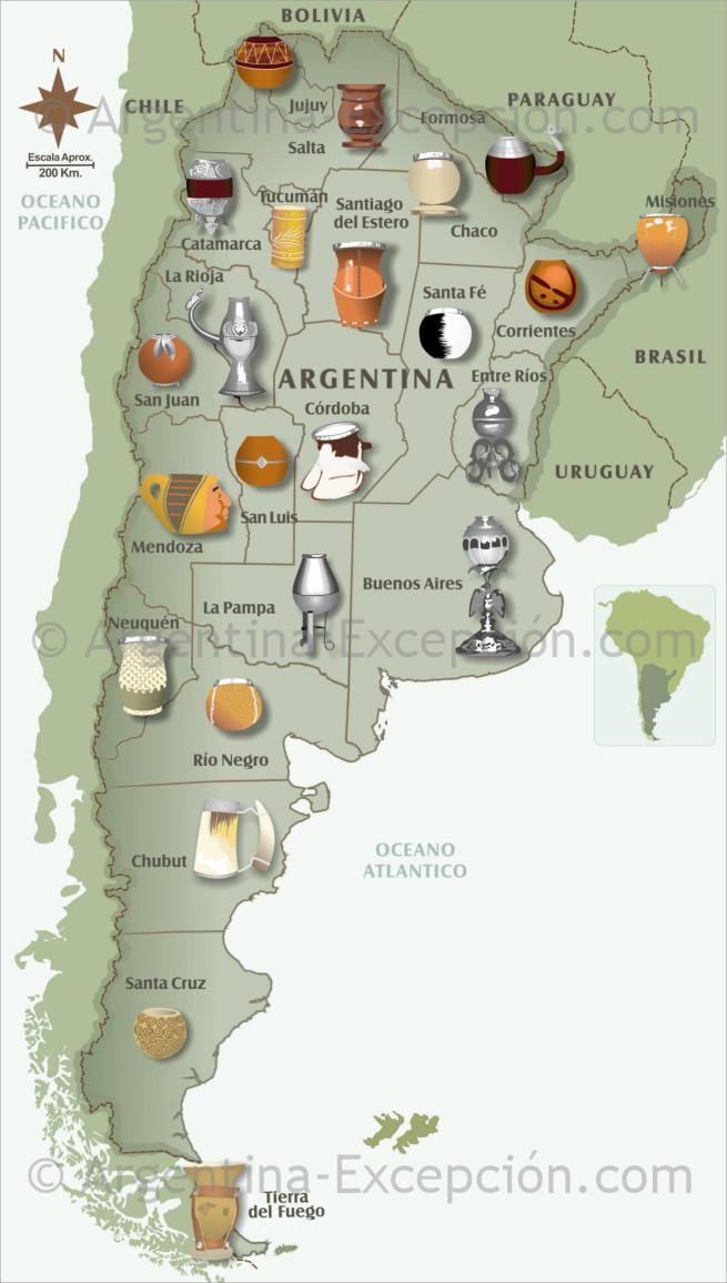 Mates por regiones de Argentina