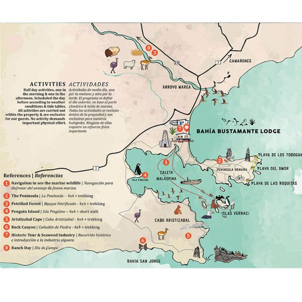 Map of Activities in Bahia Bustamante